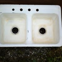 Antique Porcelain over cast iron sinks Photo