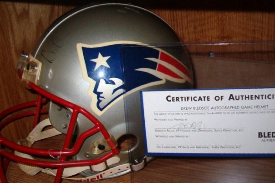 Drew Bledsoe Game worn HELMET!!!! Large Photo