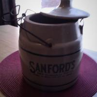 ANTIQUE STONE CROCK W/ADVERTISING Photo