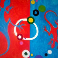 No space at home need to sell fast! Original acrylic paint on canvas Bahama Lizards Photo
