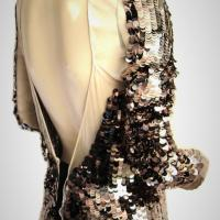 PRADA Sequin TOP w/ BRONZE PAYETTES on IVORY TULLE OPEN BACK L/S NWOT 40 Photo