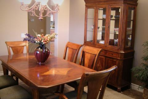 Six Chair Dining Room Table, China Cabinet and Buffet Chest  Photo