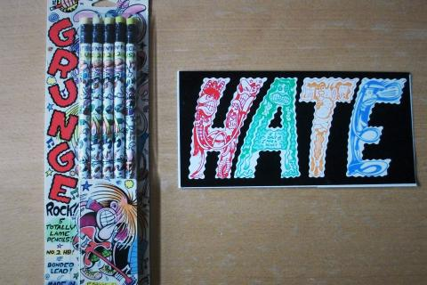 80s Pencil Set by HATE Comic Book Artist Peter Bagge + Sticker of his comic HATE Photo