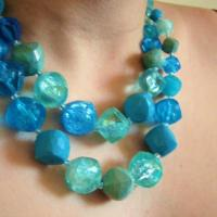 1950s Bright Blue Double Strand Necklace made in Western Germany Photo