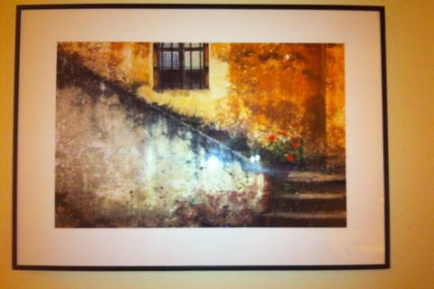 Douglas Steakley-Adobe Stairs with Geraniums Photo