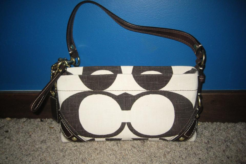 UNUSED COACH PURSE-cream canvas w/ dark brown(C)design-No.A0773-10793 Large Photo
