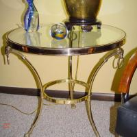 SIDE TABLES! ITALIAN BRASS AND GLASS GUERIDONS. BEAUTIFUL! Photo