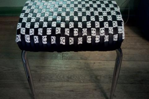 Leather and lace woven foot stool Photo
