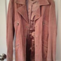 Arden B Pink Suede Trench Coat Size Small Photo