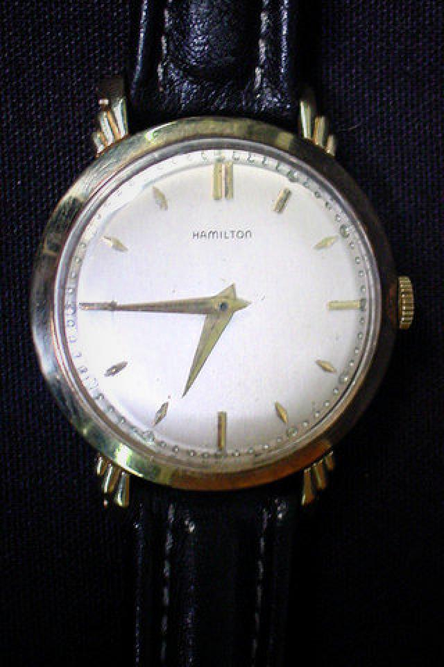 Post War 1946 10k Gold 18 Jewel Hamiliton Wrist Watch Large Photo