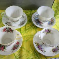 4 vintage china teacups and saucers Photo