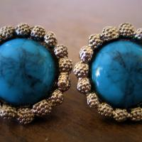 Bohemian Vintage Turquoise Stone Earrings from the 1960s Photo