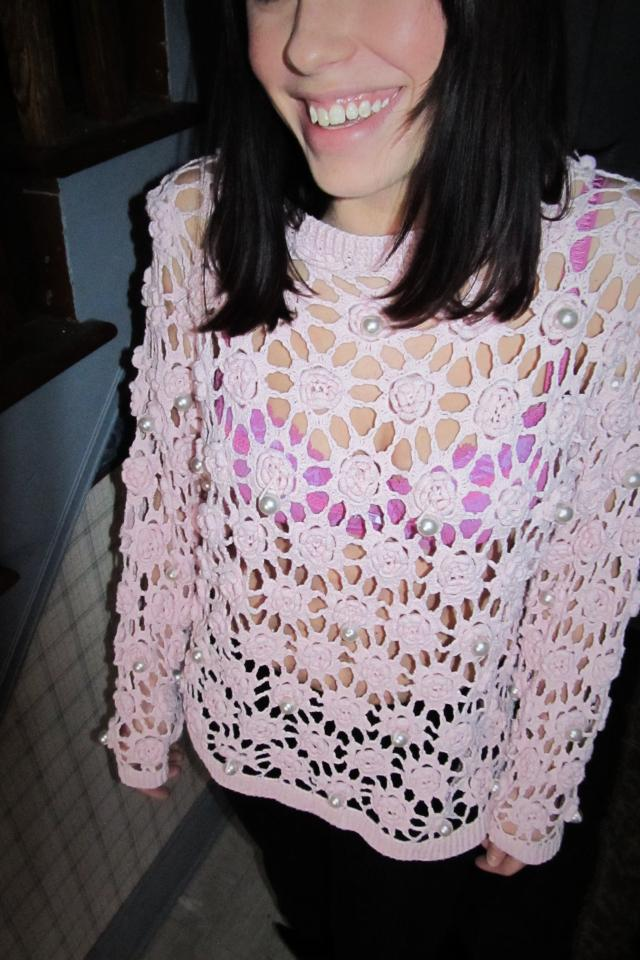 Pretty Pink and Pearl See Through Sweater  Photo