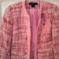Arden B Boucle Cropped Blazer Jacket Pink XS Photo