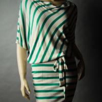 Striped Boat Neck Tie Waist Draped Dress Photo
