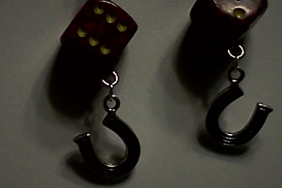 Dark spekeled  Dice earrings Large Photo