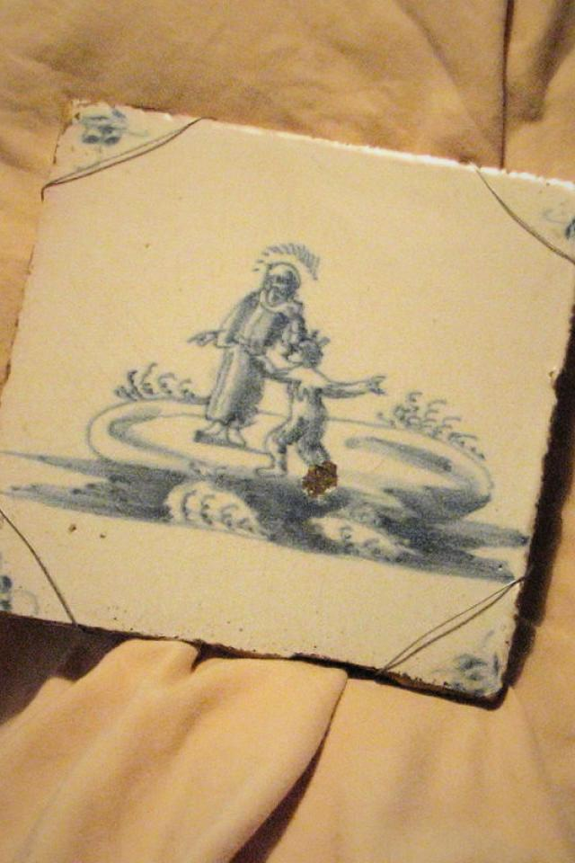 Antique Hand Painted Delft Tile From Delft, Netherlands Photo