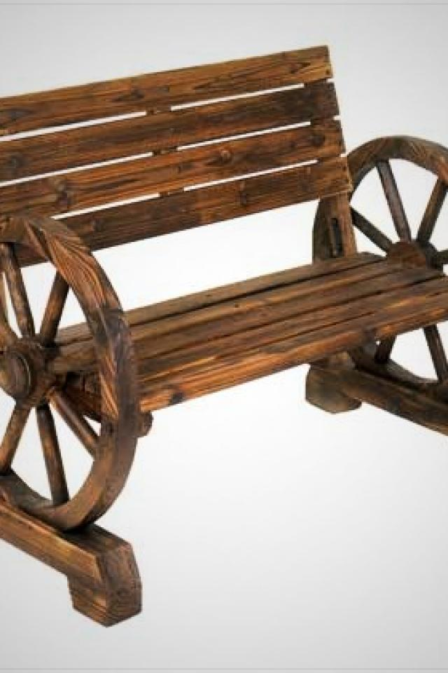 Wagon Wheel Bench Large Photo