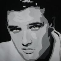 Black & White Acrylic Painting Portrait of Elvis Photo