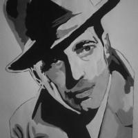 Black & White Acrylic Painting Portrait of Humphrey Bogart Photo