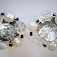 1950s White Cluster Earrings signed GERMANY Photo