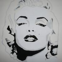 Black & White Acrylic Painting Portrait of Marilyn Monroe Photo