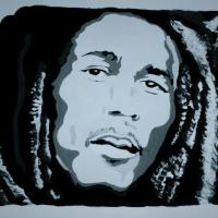 Black & White Acrylic Painting Portrait of Bob Marley Photo