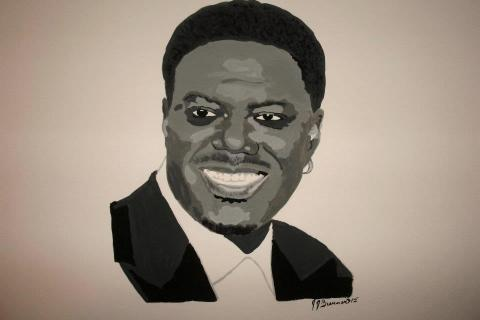 Black & White Acrylic Painting Portrait of Bernie Mac Photo