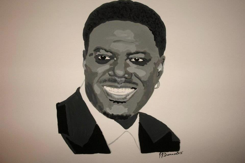 Black & White Acrylic Painting Portrait of Bernie Mac Large Photo