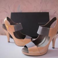 BCBG Max Azaria Ivanka Nude/Grey Elastic Sandles Size 7 Photo