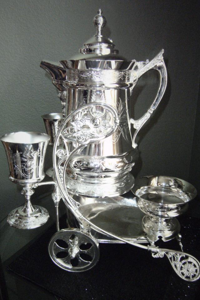 RARE 19TH CENTURY DERBY SILVER COMPANY 1878 CHARIOT TROLLEY SET SILVER PLATED CHARIOT TROLLEY & WATER PITCHER & TWO GOBLETS &  Photo