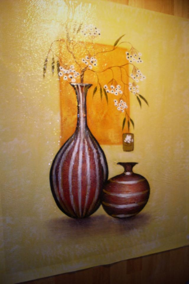 Hand-Painted Oil Painting on Canvas of Two Vases (Signed by Artist) Photo