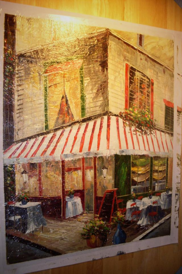Hand-Painted Oil Painting on Canvas of Cafe (Signed by Artist) Photo