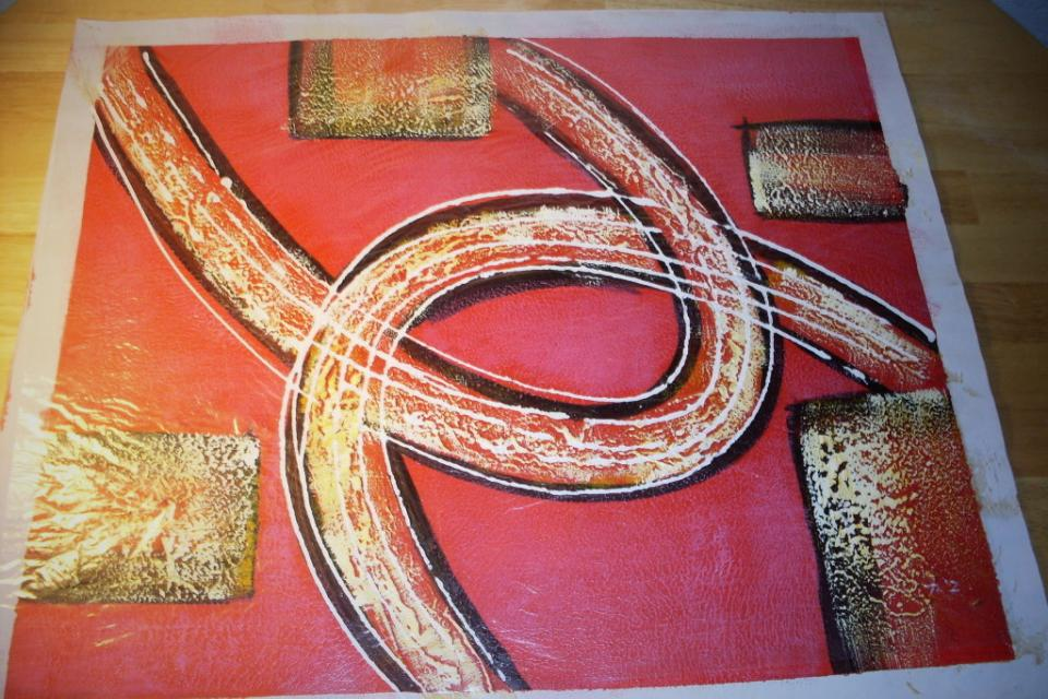 Hand-Painted Abstract Oil Painting on Canvas -- Red (Signed by Artist) Large Photo