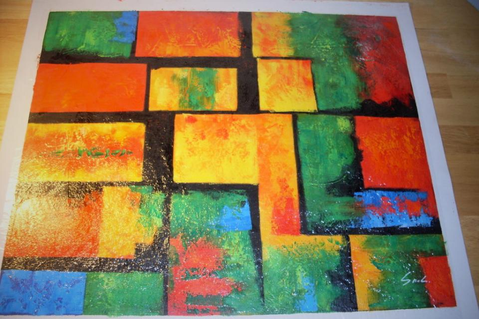 Hand-Painted Abstract Oil Painting on Canvas -- Bright & Multi-Colored (Signed by Artist) Large Photo