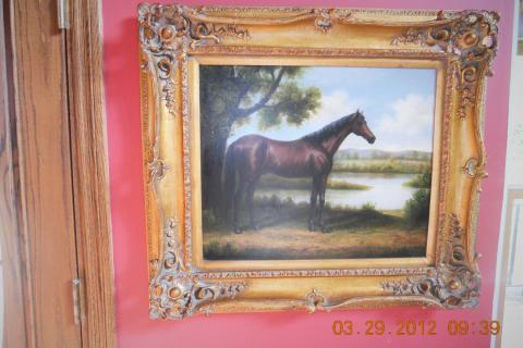 antique oil on canvas Photo