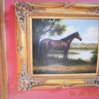 antique oil on canvas Photo