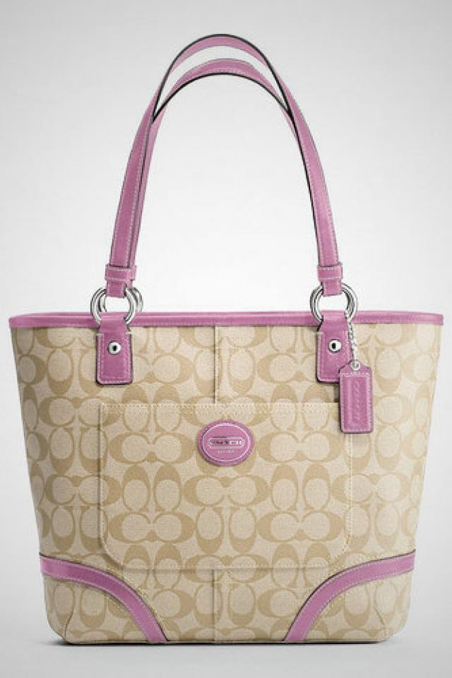 COACH HERITAGE TOTE, Style #F18917, Silver/Light khaki/Rose Large Photo
