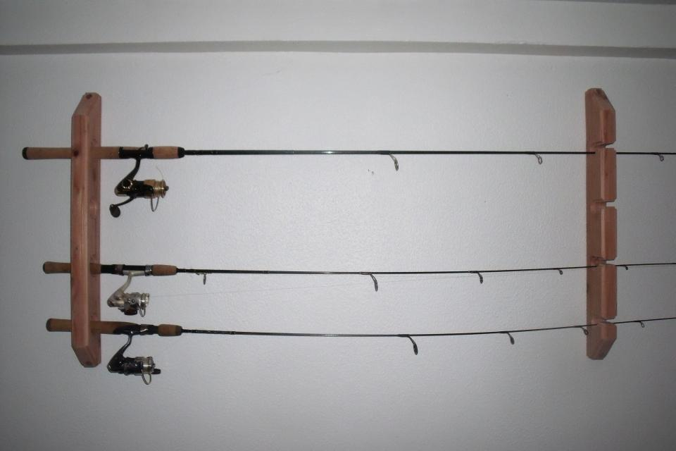 Wall mount fishing rod rack quotes for Wall fishing rod holder