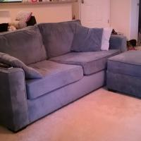 Blue MicroVelvet Couch+Ottoman  Photo