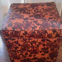 Vintage Vinyl Storage Ottoman Photo