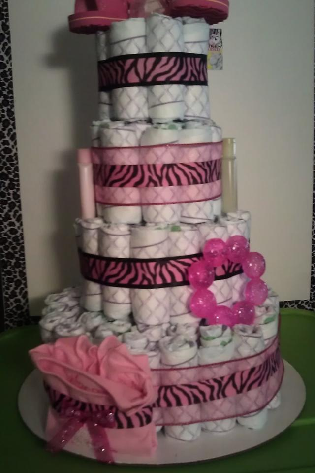 Pink Zebra Diaper Cake Photo