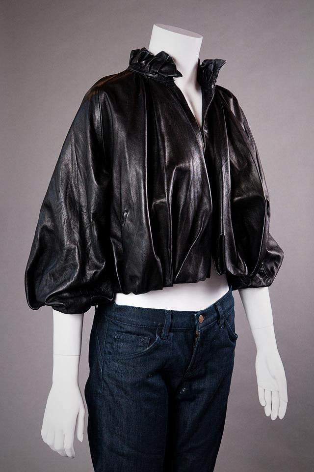 Pegah Anvarian Black Leather Bubble Jacket Large Photo