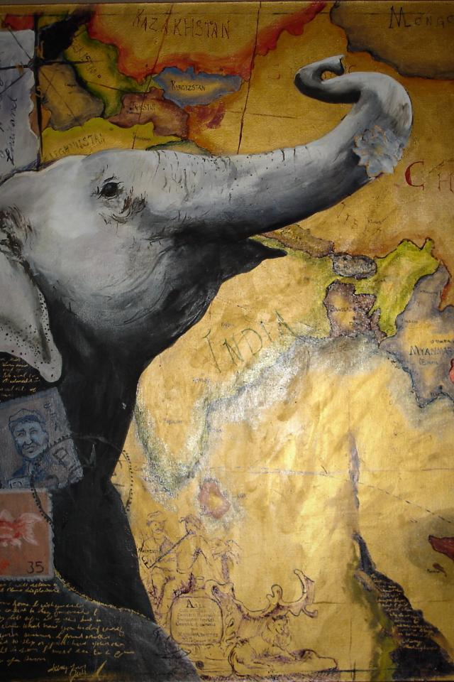 Elephant Oil Painting Photo