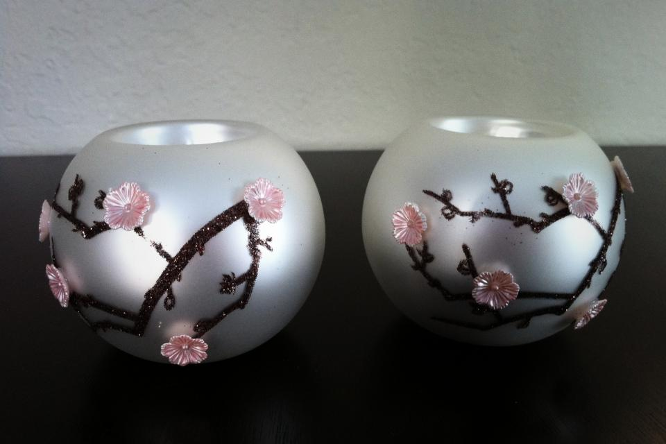 Glass Tealight holders - set of 2  Large Photo