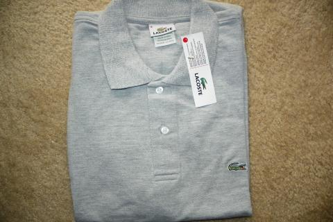 NEW MEN'S LACOSTE POLO SHIRT GRAY SZ 8/XL  Photo