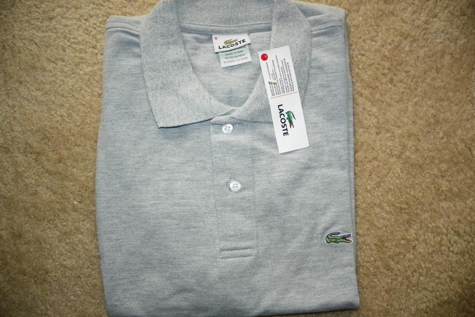 NEW MEN'S LACOSTE POLO SHIRT GRAY SZ 8/XL  Large Photo