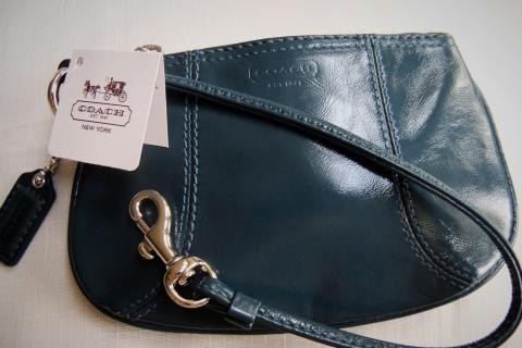 Coach Wristlet - NWT, Blue, Patent Leather, Silver HWD Photo