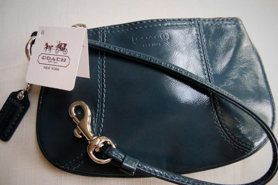 Coach Wristlet - NWT, Blue, Patent Leather, Silver HWD Large Photo
