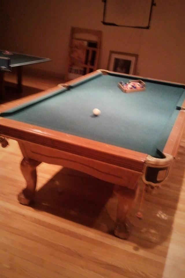 CLaw Foot Pool Table w/ Ping Pong Table overlay Large Photo